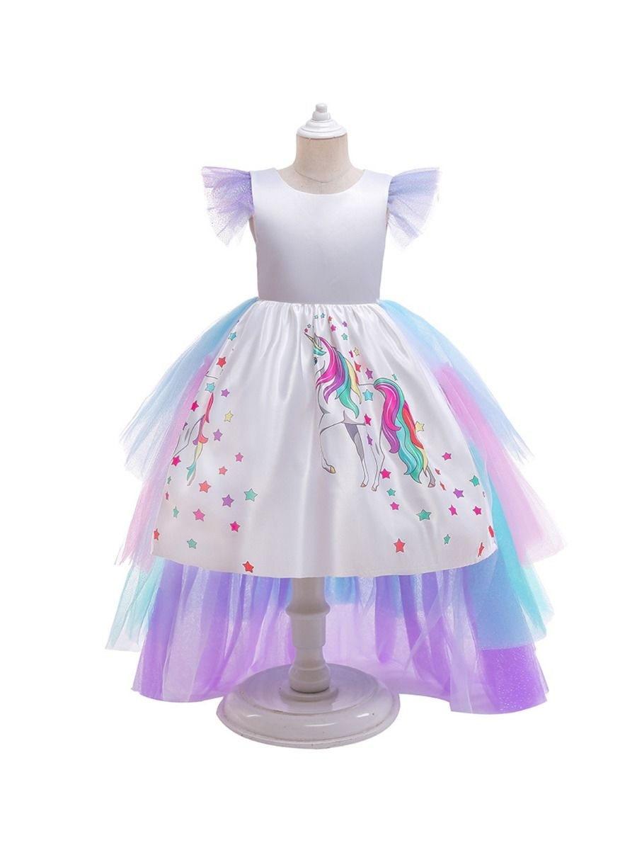 Big Girl Clothing Unicorn Star Rainbow Mesh Party Dresses For Girl 2-6Years, 6-12Years Spring Summer  Wholesale