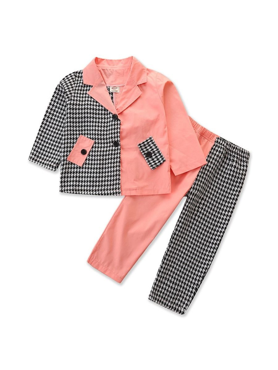 Color Blocking Houndstooth Jacket And Pants Wholesale Girls Clothes Sets Wholesale