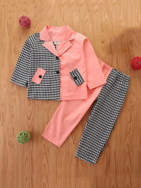 Color Blocking Houndstooth Jacket And Pants Wholesale Girls Clothes Sets Wholesale 2