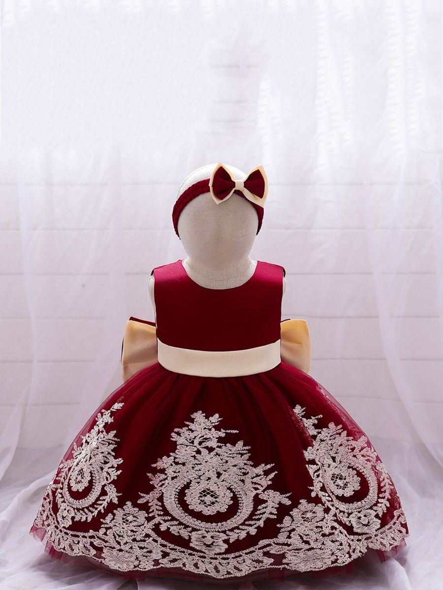 Bowknot Embroidery Lace Princess Dress With Headband Wholesale Little Girl Clothing  Wholesale BABIES 2021-09-16