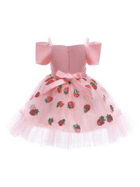 Kid Girl Strawberry Sequin Off Shoulder Princess Dress Spring Autumn  Wholesale 2
