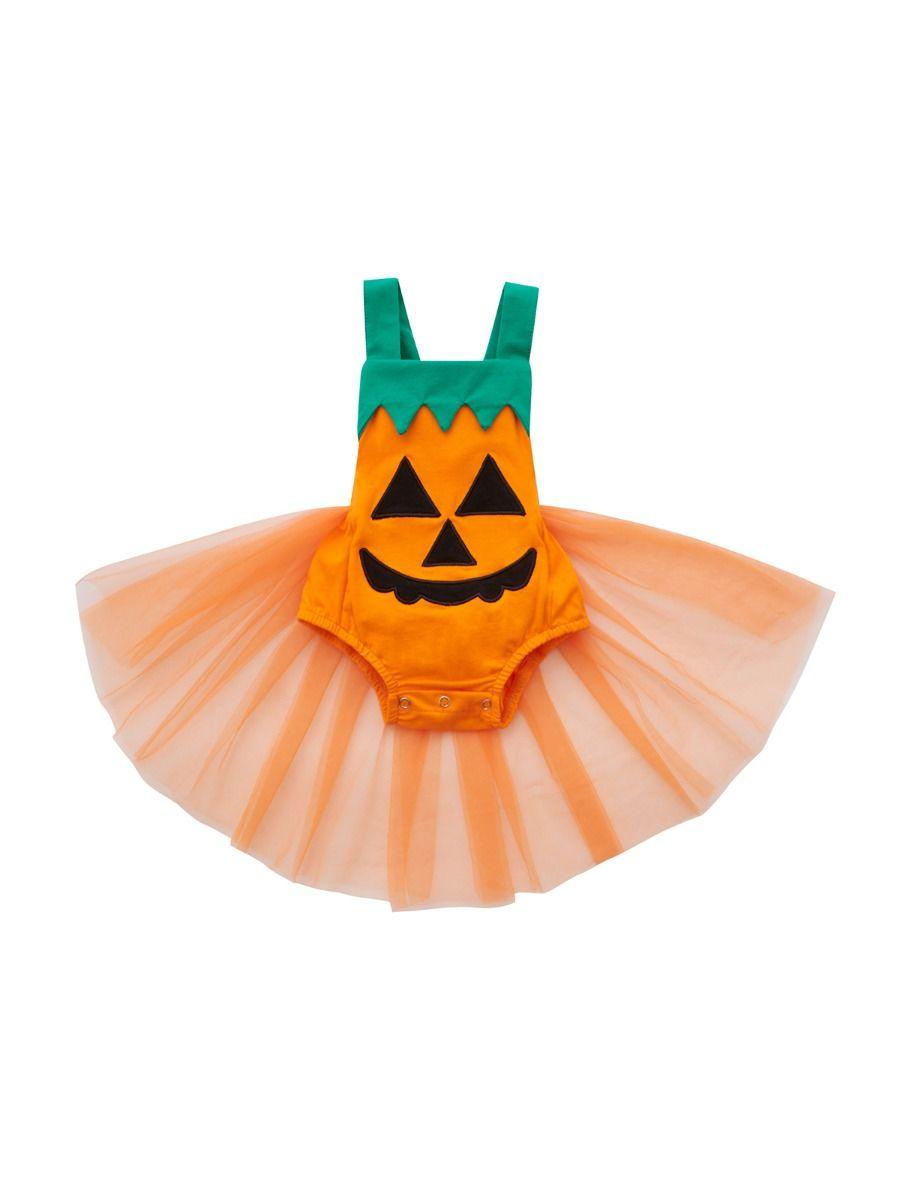 Baby Girl Halloween Pumpkin Suspender Mesh Bodysuit 3-18Months Polyester High Summer, Wholesale