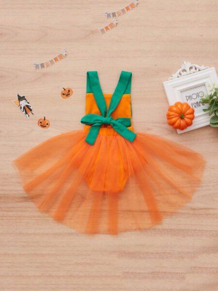 Baby Girl Halloween Pumpkin Suspender Mesh Bodysuit 3-18Months Polyester High Summer, Wholesale 2