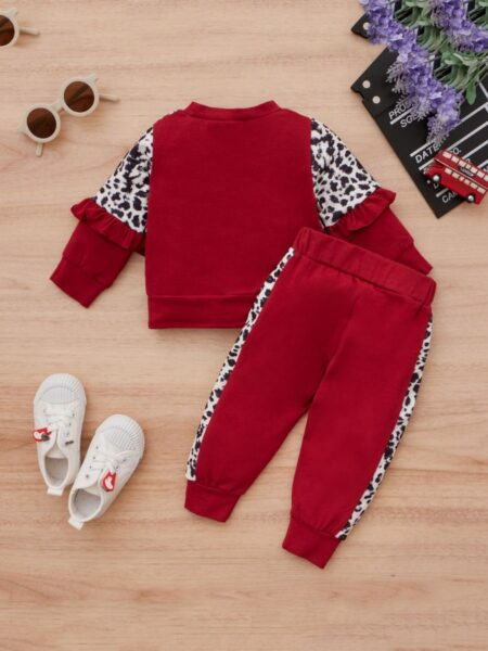 2 Pieces Leapard Print Toddler Girls Sets Top And Trousers6-24Months, 2-4Years, Cotton Blend, Cotton Blend, Wholesale 2