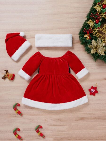 Todddler Baby Girl Christmas Dress With Hat  Wholesale 2