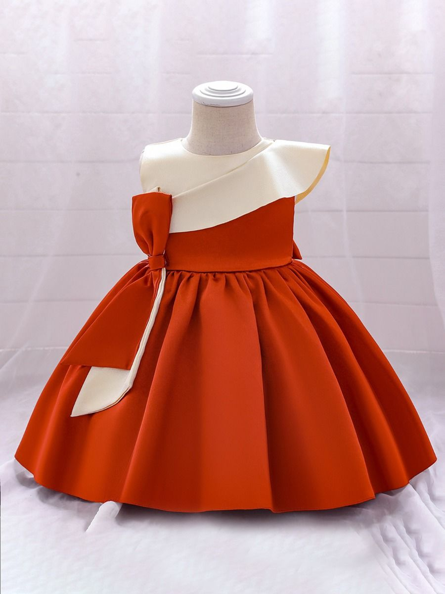 Hit Color Satin Bowknot Dresses For Girl Fashion Girl Wholesale  Wholesale