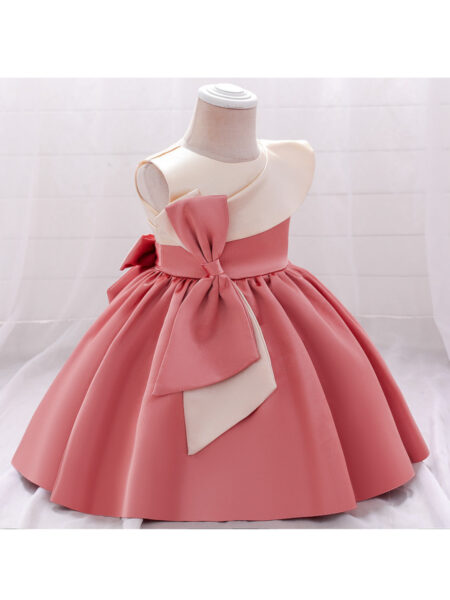 Hit Color Satin Bowknot Dresses For Girl Fashion Girl Wholesale  Wholesale 2