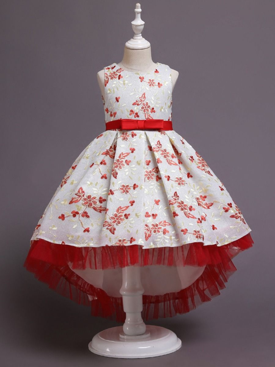 Embroidery Flower Trailing Dresses For Girl  Wholesale