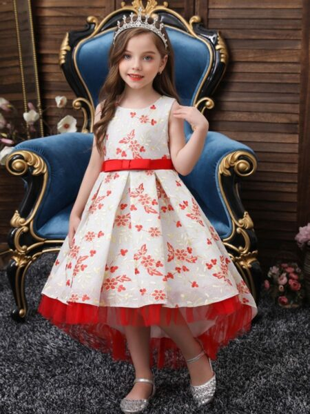Embroidery Flower Trailing Dresses For Girl  Wholesale 2