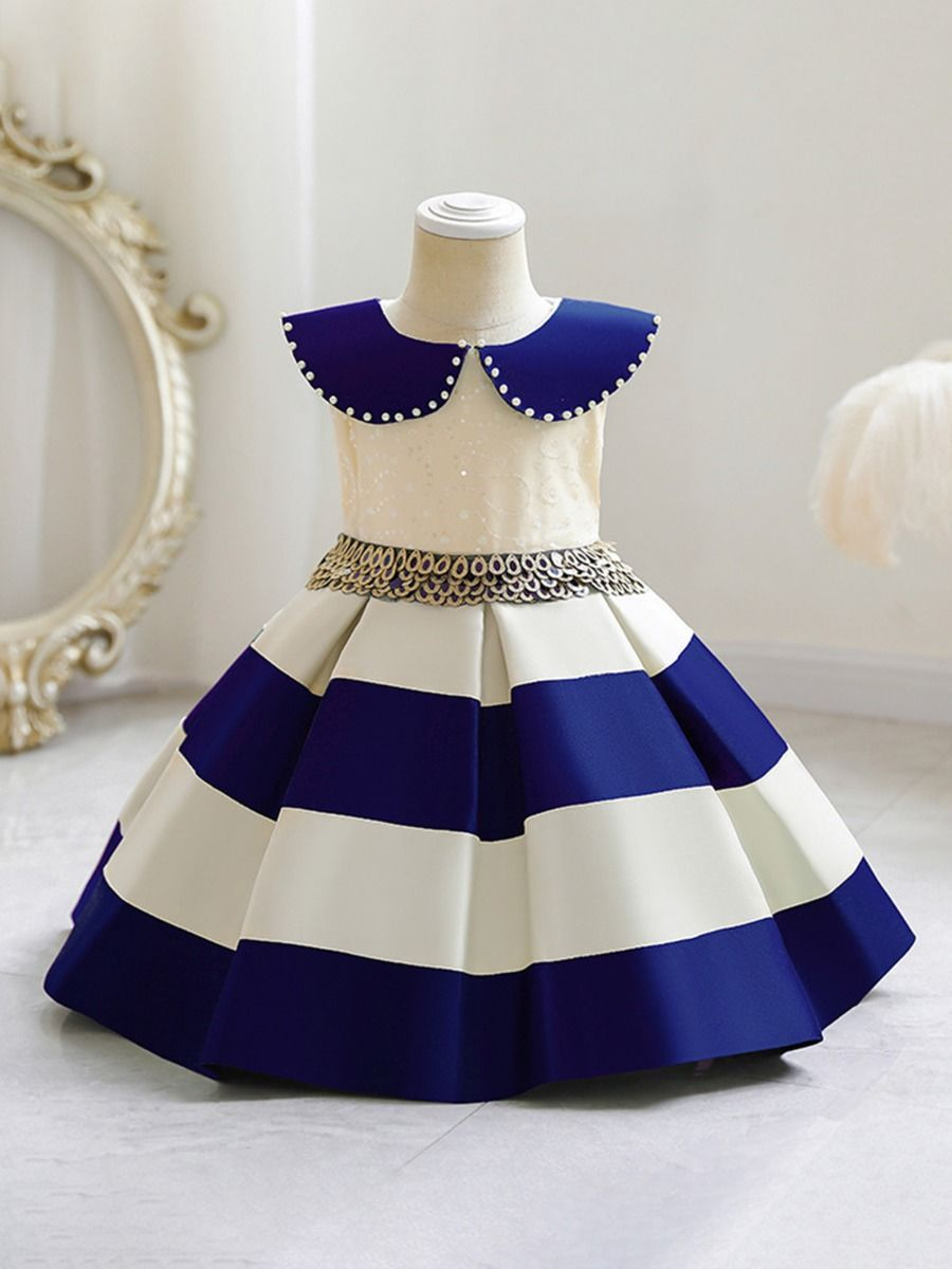 Color Blocking Sequins Party Dress For Kid Girl Wholesale Girls Clothes Wholesale