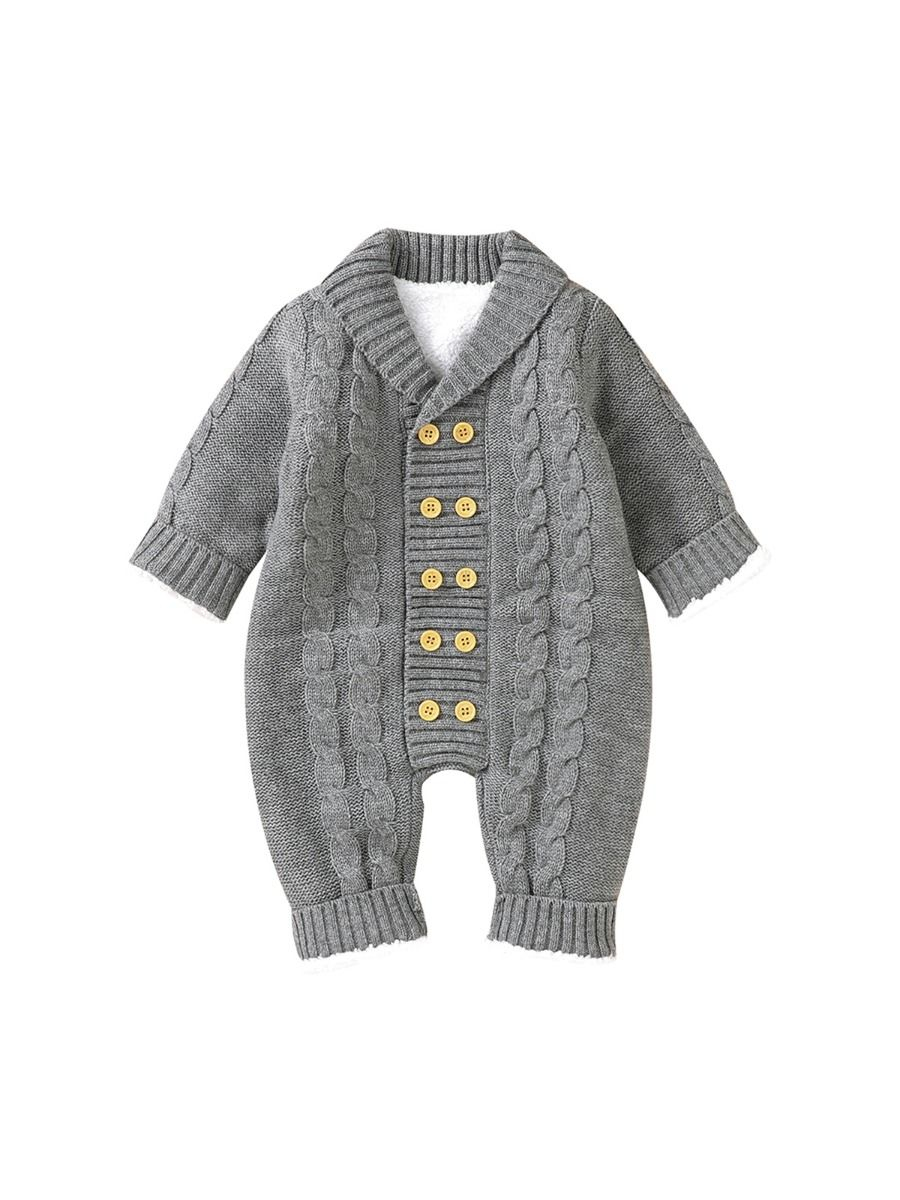 Solid Color Button Knit Baby Jumpsuit With Hat  Wholesale BABIES 2021-09-10