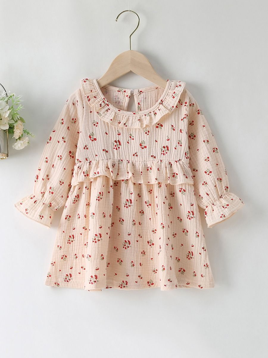 Floral Print Ruffle Trim Dresses For Girl Wholesale Baby Clothing  Wholesale BABIES 2021-09-14
