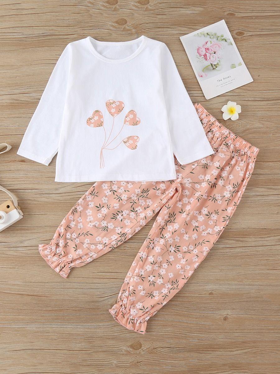 Love Heart Floral Print Kid Girls Clothing Sets Fashion Girl Wholesale  Wholesale GIRLS 2021-09-14