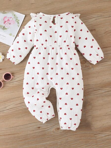 Baby Girl Love Heart Ruffle Decor Jumpsuit Wholesale Baby Boutique Clothing  Wholesale BABIES 2021-09-14