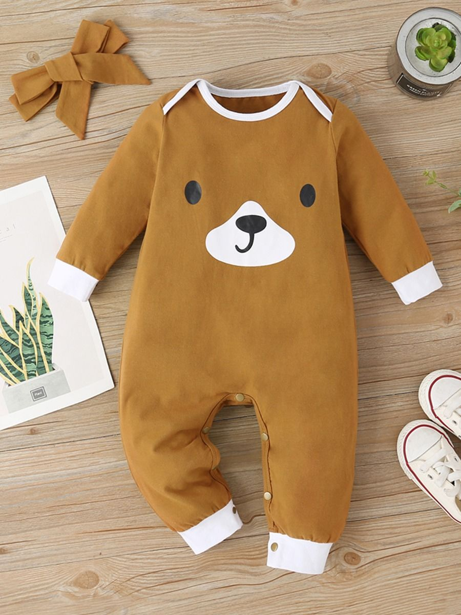Baby Bear Print Jumpsuit With Headband Wholesale Baby Boutique Clothing  Wholesale BABIES 2021-09-14