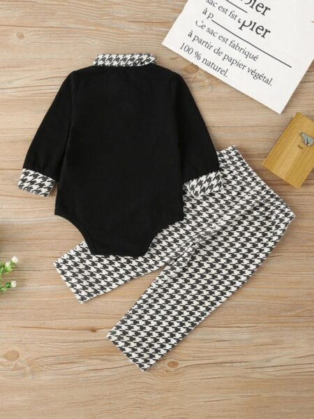 Baby Boys Outfits Sets Houndstooth Polo Bodysuit And Trousers  Wholesale 2