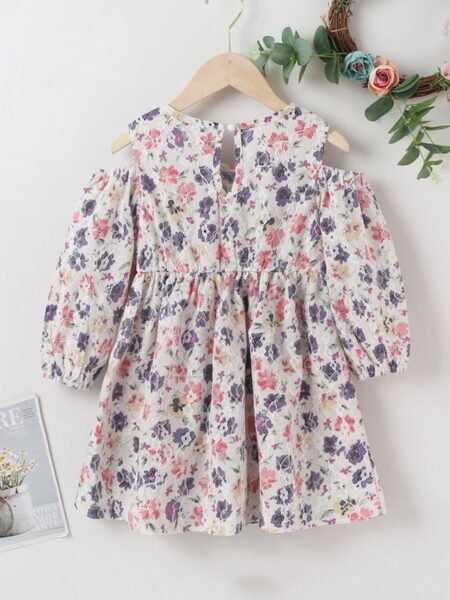 Flower Print Cut Out Sleeve Dresses For Girl  Wholesale DRESSES 2021-09-13