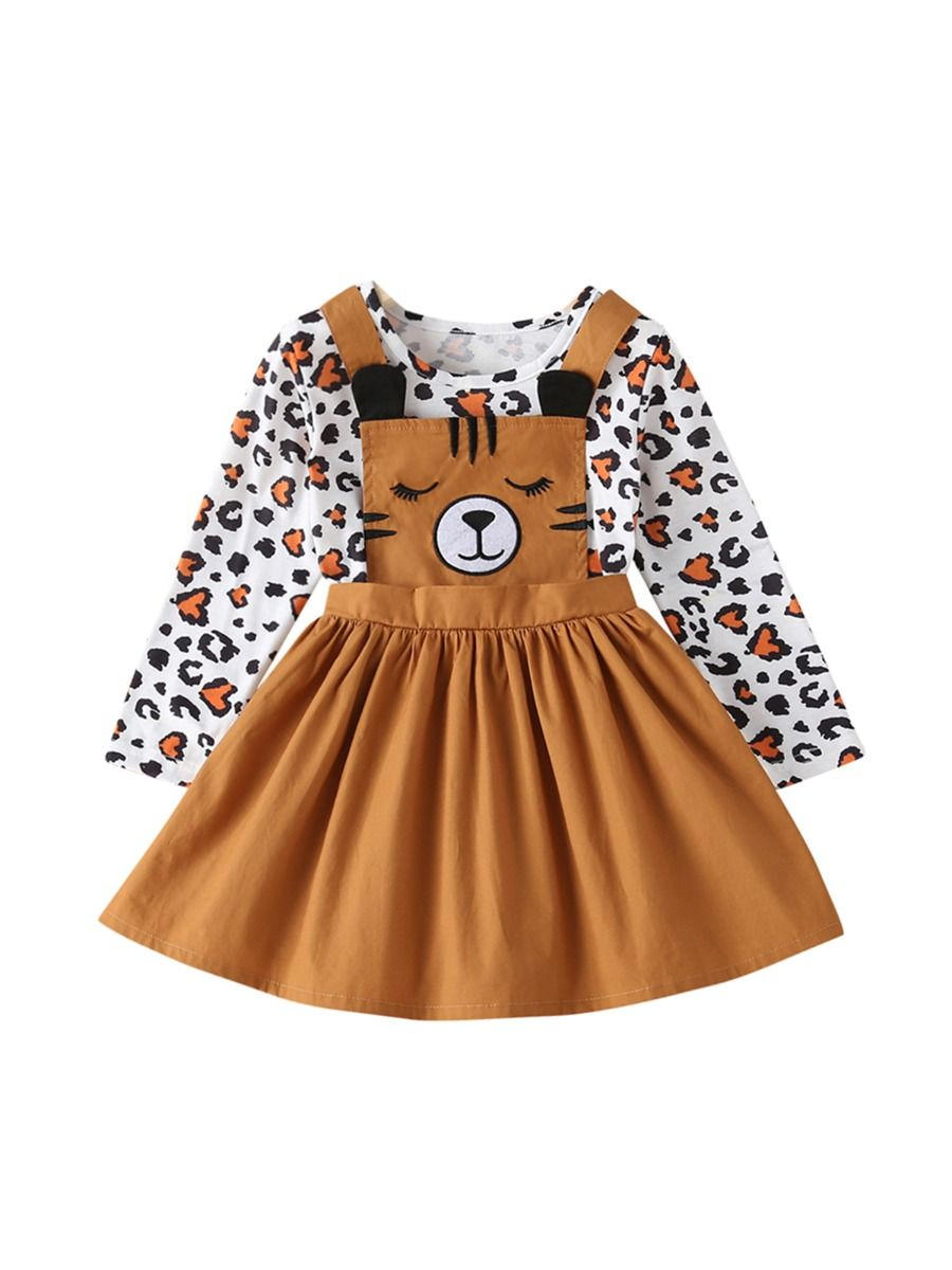 Two Pieces Girls Sets Leopard Print Top With Cartoon Suspender Skirt Kids Wholesale Clothing, 2-6Years, Leopard print, Cartoon, Cotton Blend, Polyester, Spring Autumn, Wholesale