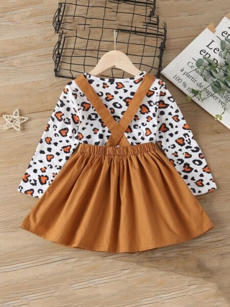 Two Pieces Girls Sets Leopard Print Top With Cartoon Suspender Skirt Kids Wholesale Clothing, 2-6Years, Leopard print, Cartoon, Cotton Blend, Polyester, Spring Autumn, Wholesale 2