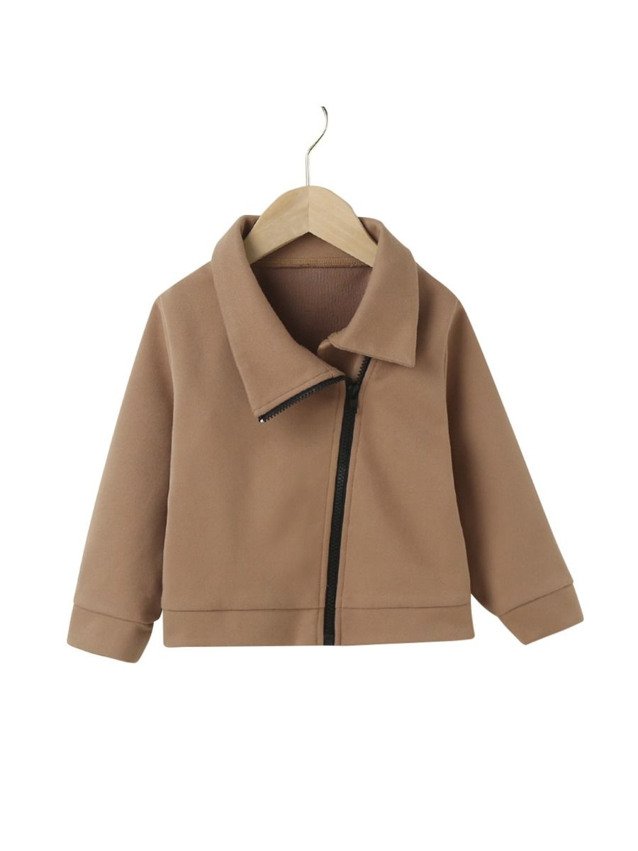 Kid Solid Color Zipper Coats, 2-6Years, Solid Color, Polyester, Autumn Winter,  Wholesale