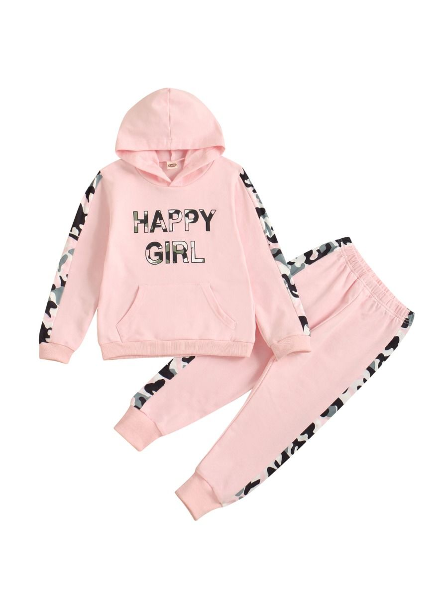 HAPPY GIRL Letter Camo Print Hoodie And Pants Girl Tracksuit Set Wholesale Childrens Clothing, 1-5Years, etters, Camo, Printed, Cotton Blend, Spring Autumn, Wholesale