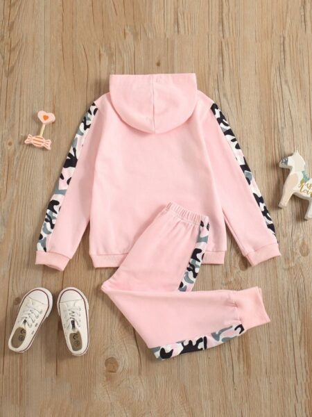 HAPPY GIRL Letter Camo Print Hoodie And Pants Girl Tracksuit Set Wholesale Childrens Clothing, 1-5Years, etters, Camo, Printed, Cotton Blend, Spring Autumn, Wholesale 2