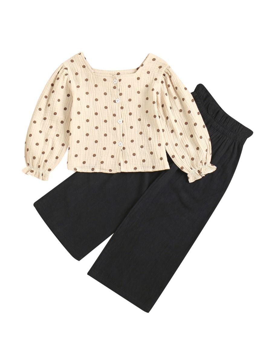 Polka Dots Lantern Sleeves Blouse With Wide Leg Pants Wholesale Girl Clothing Sets, 1-5Years, Polka dots, Printed, Cotton Blend, Spring Autumn,  Wholesale