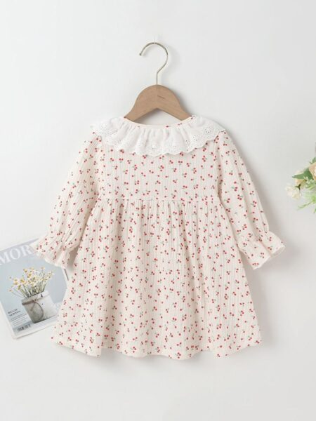 Lace Cherry Print Lantern Sleeves Online Baby Girl Dress, 3-24Months, Fruit, Printed, Lace, Cotton Blend, Spring Autumn, Wholesale 2