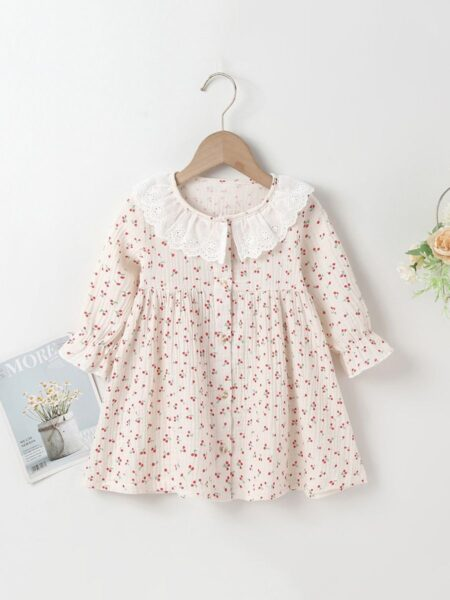 Lace Cherry Print Lantern Sleeves Online Baby Girl Dress, 3-24Months, Fruit, Printed, Lace, Cotton Blend, Spring Autumn, Wholesale