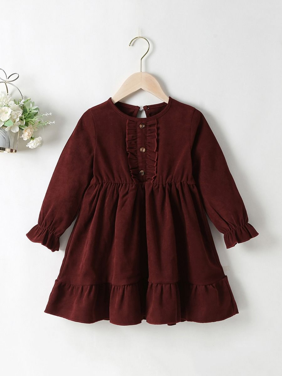 Coffee Corduroy Lantern Sleeves Dresses For Girls Wholesale Childrens Clothing, 2-6Years, Solid Color, Polyester, Spring Autumn, Wholesale
