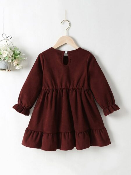 Coffee Corduroy Lantern Sleeves Dresses For Girls Wholesale Childrens Clothing, 2-6Years, Solid Color, Polyester, Spring Autumn, Wholesale 2