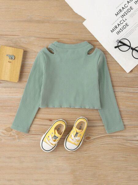 Little Girls Green Long Sleeve Cold Shoulder Ribbed Tops  Wholesale 2