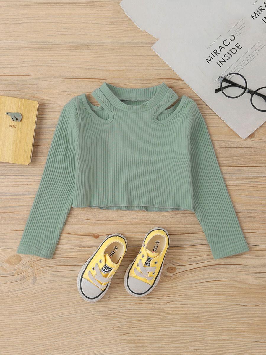Little Girls Green Long Sleeve Cold Shoulder Ribbed Tops  Wholesale