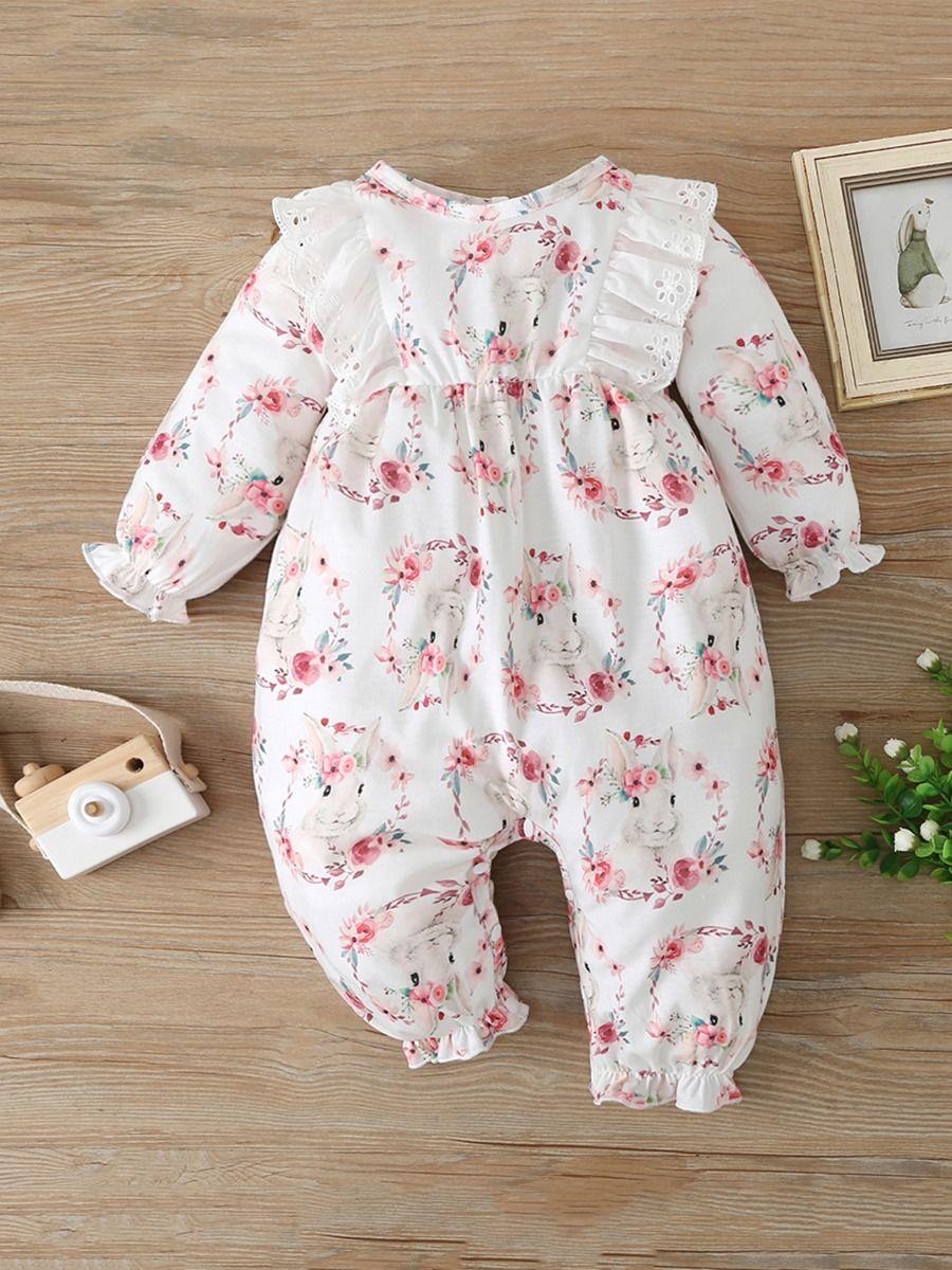 Flower Rabbit Print Baby Girl Jumpsuit Wholesale Baby Clothes  Wholesale