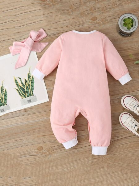 Rabbit Baby Girl Jumpsuit With Headband Wholesale Baby Clothes, 0-3M, 3-18Months, Animals, Printed, Cotton Blend, Spandex, Spring Autumn, Wholesale 2