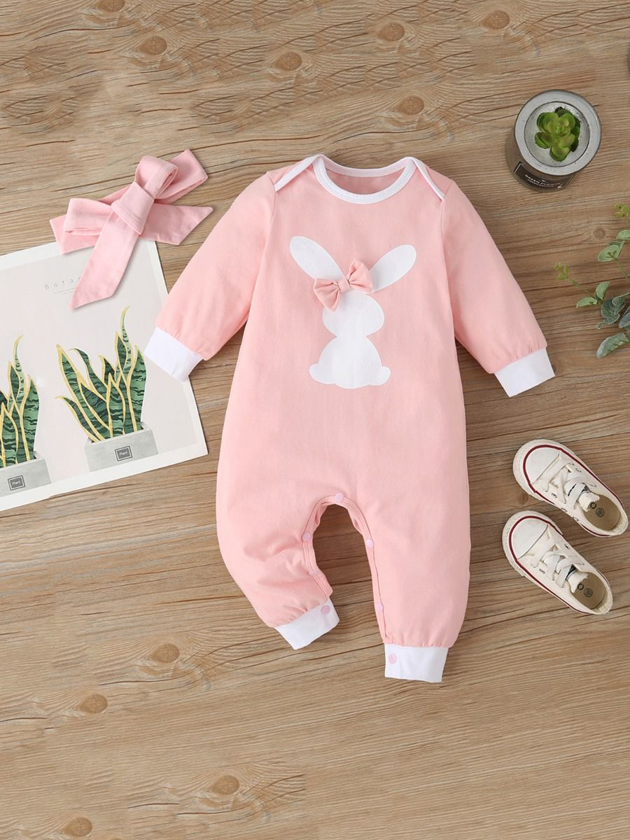 Rabbit Baby Girl Jumpsuit With Headband Wholesale Baby Clothes, 0-3M, 3-18Months, Animals, Printed, Cotton Blend, Spandex, Spring Autumn, Wholesale