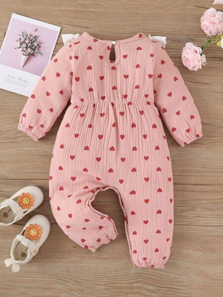 Baby Girl Love Heart Print Ruffle Trim Jumpsuit Wholesale Baby Clothes Wholesale 2