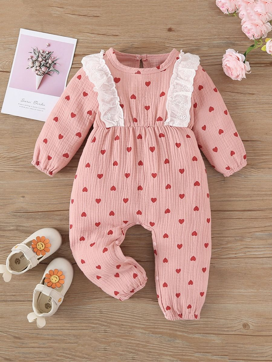 Baby Girl Love Heart Print Ruffle Trim Jumpsuit Wholesale Baby Clothes Wholesale