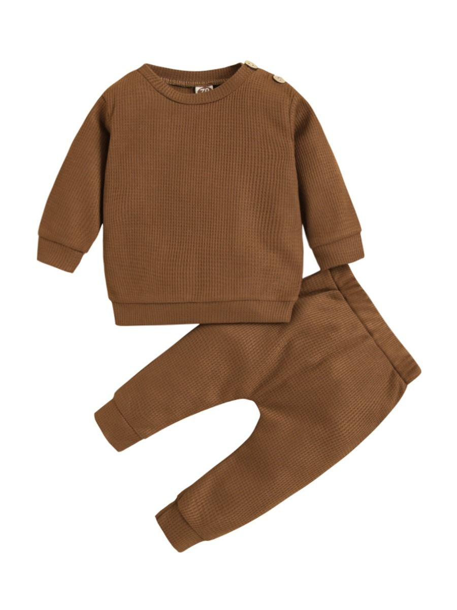 Baby Waffle Clothes Set Top And Pants Wholesale Baby Clothes, 3-24Months, Solid Color, Cotton Blend, Polyester, Autumn Winter, Wholesale