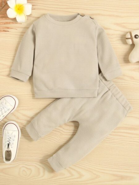 Baby Waffle Clothes Set Top And Pants Wholesale Baby Clothes, 3-24Months, Solid Color, Cotton Blend, Polyester, Autumn Winter, Wholesale 2