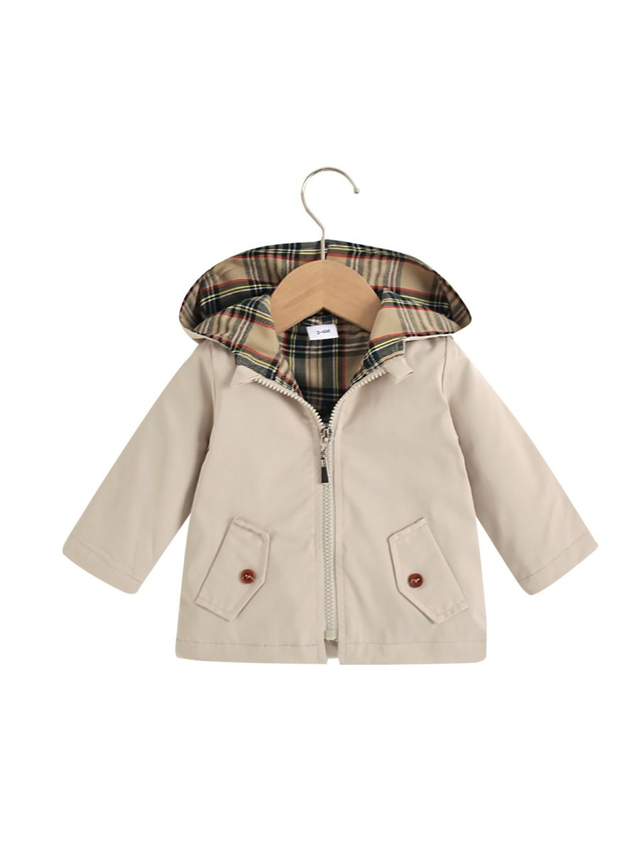 Checked Pocket Hoodie Coat Wholesale Baby Clothing , 3-24Months, Checked, Polyester, Autumn Winter, Wholesale