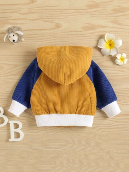Color Blocking Corduroy Hoodie Jacket Wholesale Baby Clothes Wholesale 2