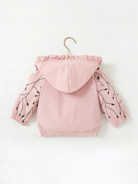 Baby Girl Floral Hoodie Jacket Wholesale Baby Clothes, 3-24Months, Flower, Printed, Polyester, Spring Autumn, Wholesale 2