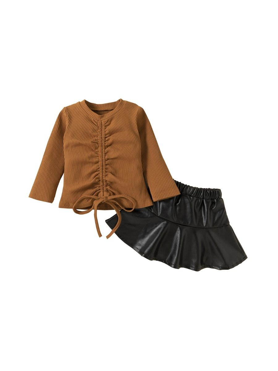 Two Pieces Girls Sets Drawstring Top With PU Skirt Wholesale Girls
