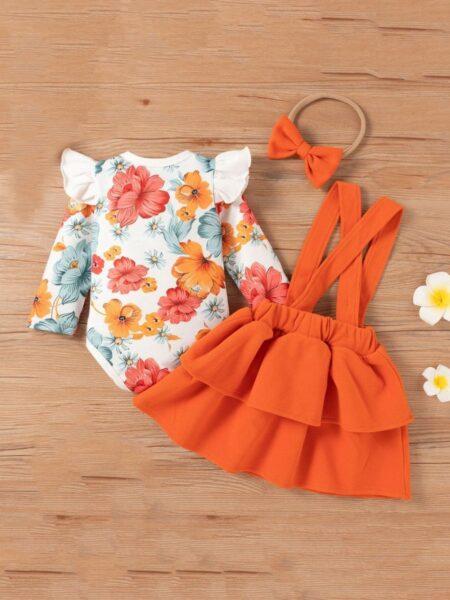 Flower Print Bodysuit Suspender Skirt Headband Three Pieces Girls Sets Wholesale Baby Clothes, 3-24Months, Flower, Printed, Cotton Blend, Spring Autumn, Wholesale 2
