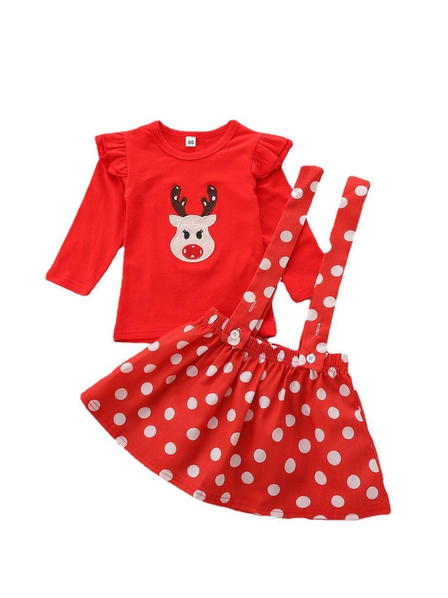 Kid Girls Clothing Sets Christmas Elk Top & Polka Dots Suspender Skirt & Headband, Girls, 1-6Years, Polka dots, Cotton Blend, Spring Summer, Wholesale
