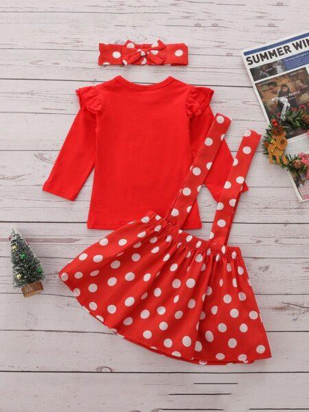 Kid Girls Clothing Sets Christmas Elk Top & Polka Dots Suspender Skirt & Headband, Girls, 1-6Years, Polka dots, Cotton Blend, Spring Summer, Wholesale 2