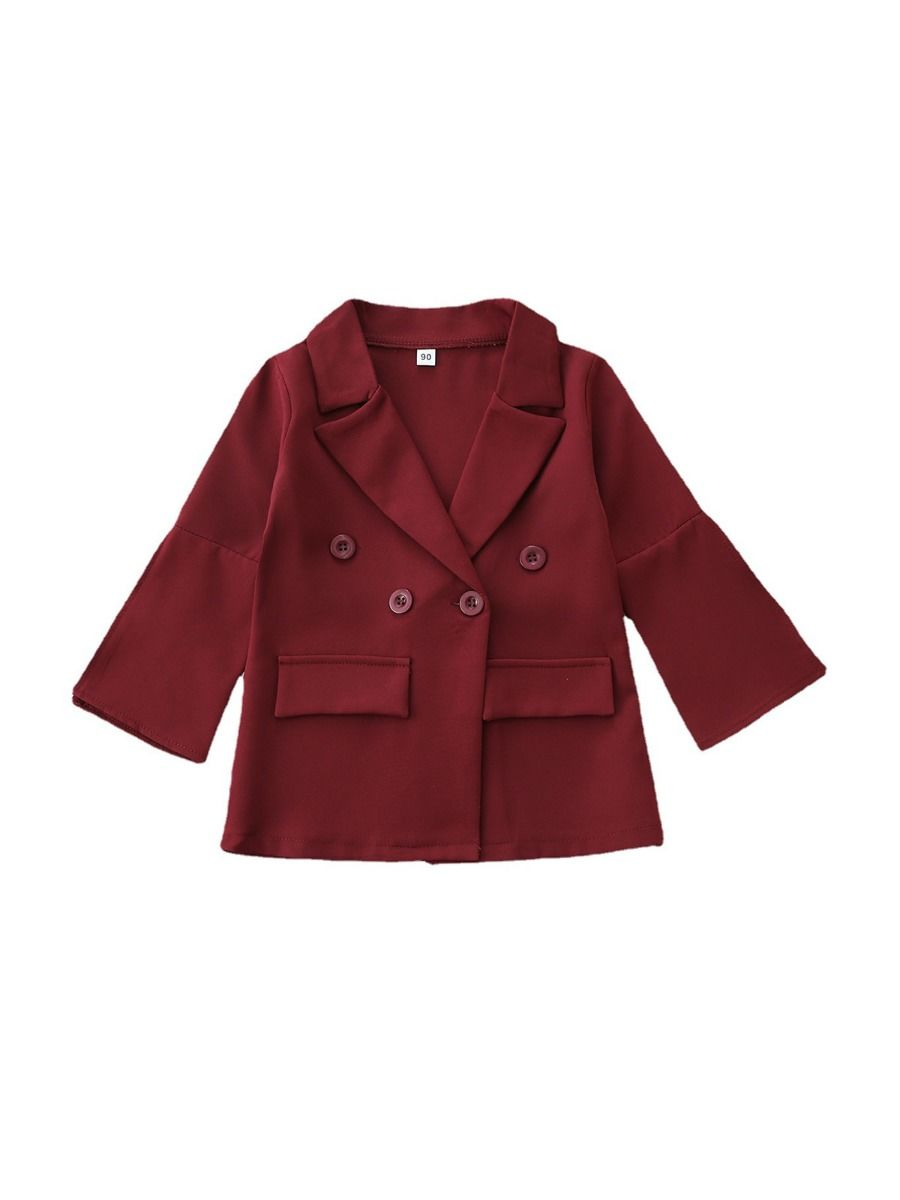 Wine Red Kid Girls Blazer Kids Clothing Vendors, 2-8Years, Solid Color, Cotton Blend, Autumn Winter, Wholesale