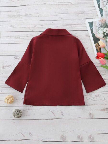 Wine Red Kid Girls Blazer Kids Clothing Vendors, 2-8Years, Solid Color, Cotton Blend, Autumn Winter, Wholesale 2