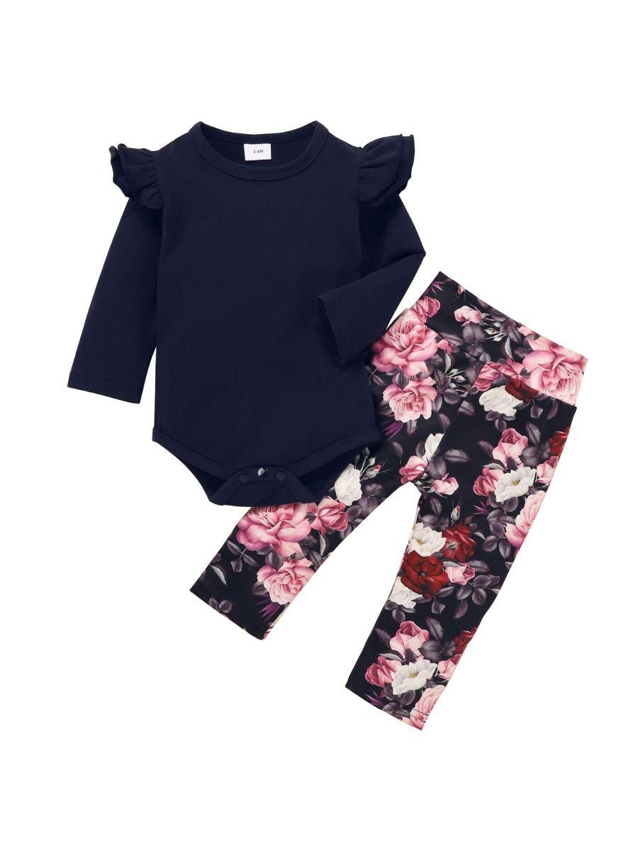 Blank Bodysuit Flower Print Pants Headband Three Pieces Girls Sets Wholesale Baby Clothes, Wholesale